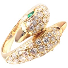 Piaget Swan Bypass Diamond Emerald Yellow Gold Band Ring