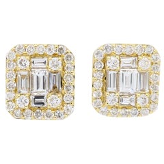 18 Karat Mix Cut Diamond Halo Earrings