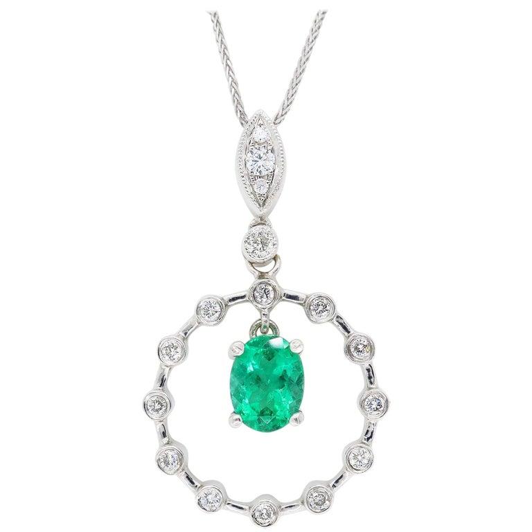 Emerald and Diamond Pendant Necklace
