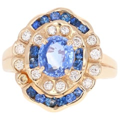 2.54 Carat Sapphire Diamond 14 Karat Yellow Gold Ring
