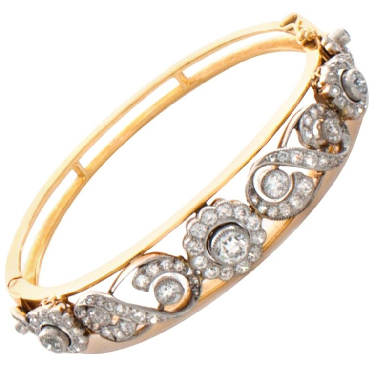 Antique 14 Karat Gold Approximately 5.0 Carat Diamond Bangle Bracelet