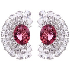 11.68 Carats Diamond Rubellite Gold Stud Earrings One of a Kind Design