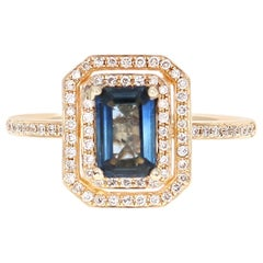 1.16 Carat Sapphire Diamond 14 Karat Yellow Gold Ring