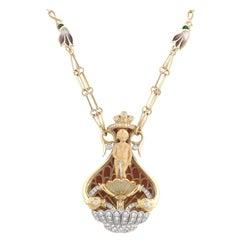 Plique-à-jour Enamel and Diamond Necklace