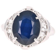 5.96 Carat Sapphire Diamond Platinum Cocktail Ring