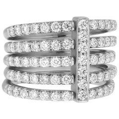 Moderne 18 Karat White Gold and 1.50 Carat Diamond Carelle Five Band Ring
