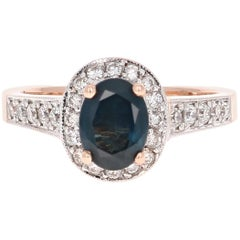 1.75 Carat Sapphire Diamond 14 Karat Rose Gold Engagement Ring