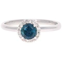 0.64 Carat Sapphire Diamond 14 Karat White Gold Ring