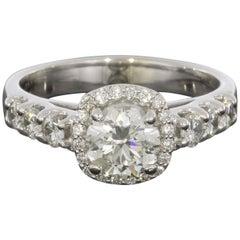 White Gold 1.33 Carat Round Diamond Cushion Shaped Halo Engagement Ring