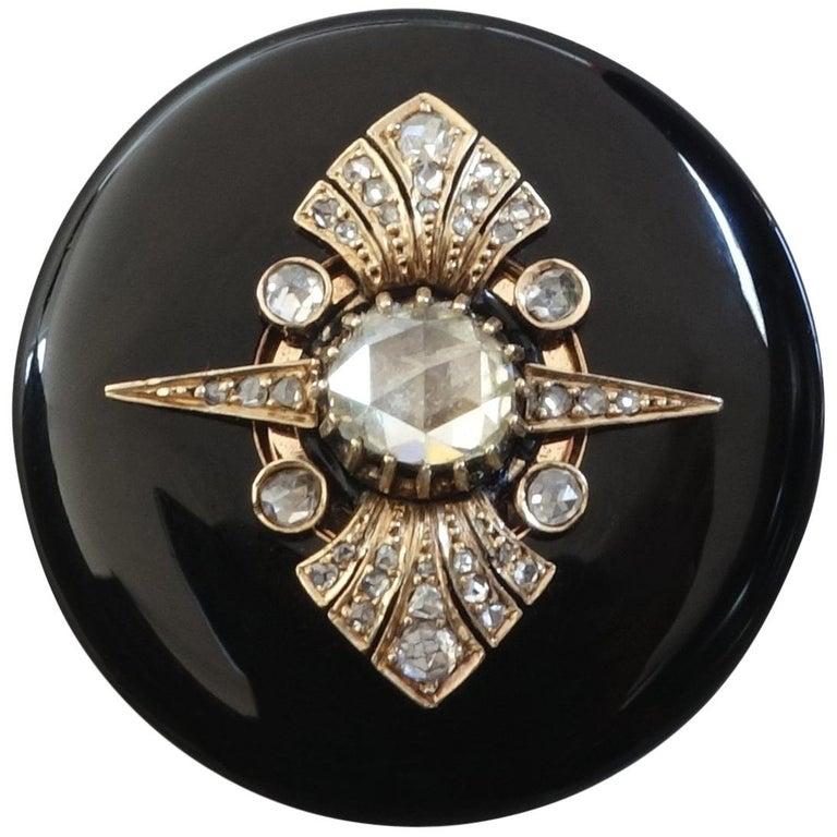 Antique Victorian Rose Diamond Enamel Gold Locket Pendant Brooch