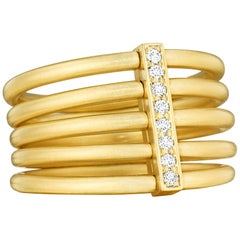 Carelle 18 Karat Yellow Gold and .08 Carat Diamond Moderne Penta Ring