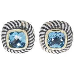 David Yurman Albion Silver and Gold Cushion Blue Topaz Stud Earrings