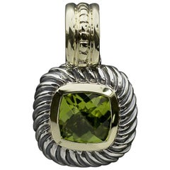David Yurman Albion Silver and Gold Cushion Peridot Pendant Enhancer