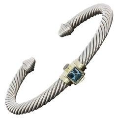 David Yurman Renaissance Blue Topaz and Iolite Cable Cuff Bracelet