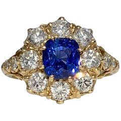 Cushion Cut Blue Sapphire White Round Brilliant Cut Diamond Dress Cocktail Ring