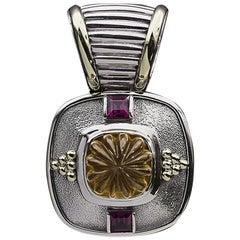 David Yurman Rare Retired Gold & Silver Carved Citrine & Garnet Pendant Enhancer