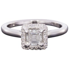 White Gold GIA Certified Asscher Diamond Halo Engagement Ring