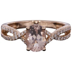 Rose Gold 1.33 Carat Oval Cut Morganite and Diamond Twist Ring