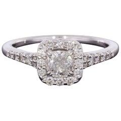 White Gold 0.75 Carat Cushion Diamond Halo Engagement Ring