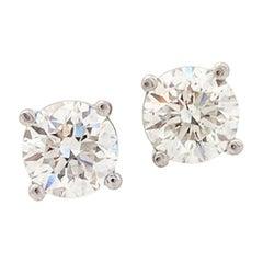 14 Karat White Gold Diamond Stud Earrings .75 Carat