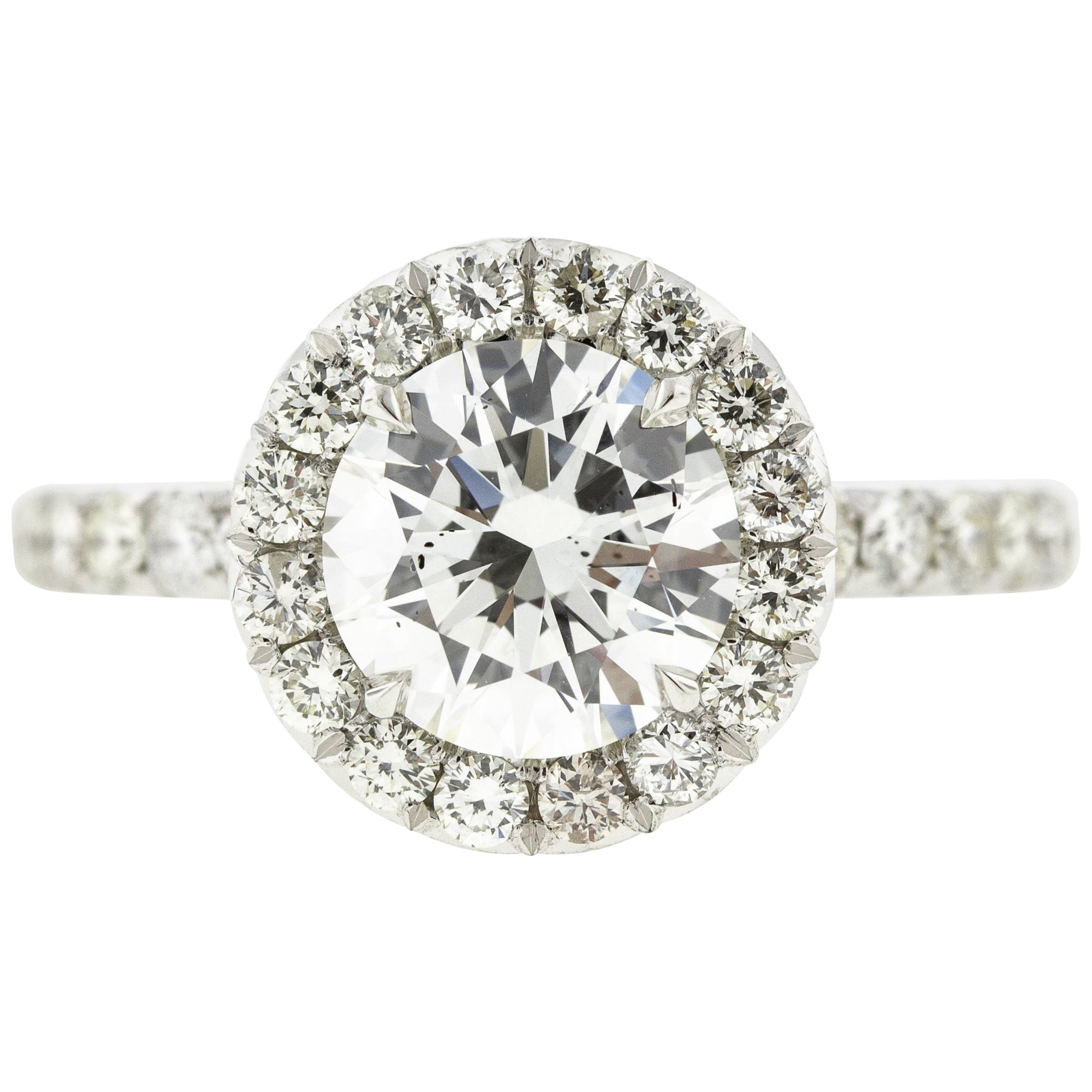 Head-on-Shank Round Diamond Halo Engagement Ring 'GIA'