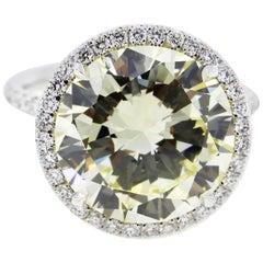 7 Carat Fancy Yellow Round Diamond Engagement Ring in Platinum