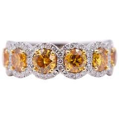 GIA Certified 18 Karat Gold Fancy Intense Orange Yellow Diamond Statement Ring