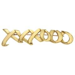 Large Tiffany & Co. 18 Karat Gold 1983 Paloma Picasso XXXOOO Pin Brooch