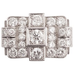 Platinum and Diamonds French Art Deco Ring