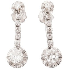 Gold Platinum and Diamonds French Art Deco Earrings
