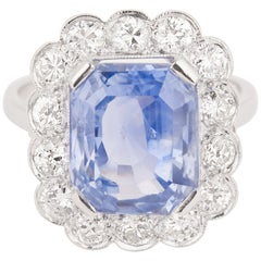 Certified 7.58 Carat Sapphire and Diamonds French Art Deco Ring