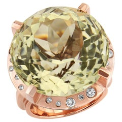 Lemon Citrine and Diamond Cocktail Ring Red Gold