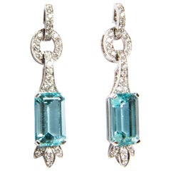 Aquamarine 7.47 Carat and Diamond 0.79 Carat Earrings in White Gold 18 Karat
