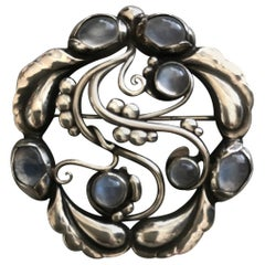 """Georg Jensen Sterling Silver """"Moonlight"""" Brooch No. 159 with Moonstones"""