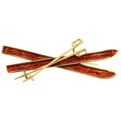Solid 14 Karat Yellow Gold Genuine Enamel Ski Brooch