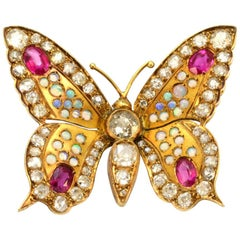 Solid 14 Karat Gold Antique Natural Diamond, Genuine Opal and Ruby Butterfly Pin