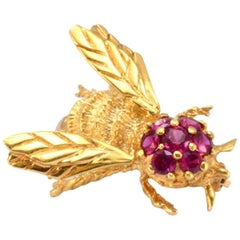 Solid 14 Karat Yellow Gold Bee Pin with Synthetic Rubies