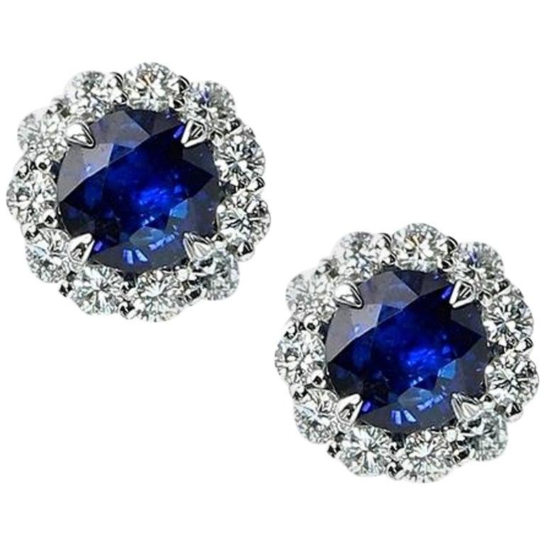 3.26 Carat Royal Blue Sapphire Studs For Sale