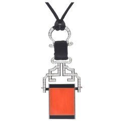 Coral and Onyx with Diamonds Pendent Necklace on 18 Karat White Gold