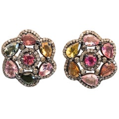 Faceted Tourmaline and Diamond Stud Earrings