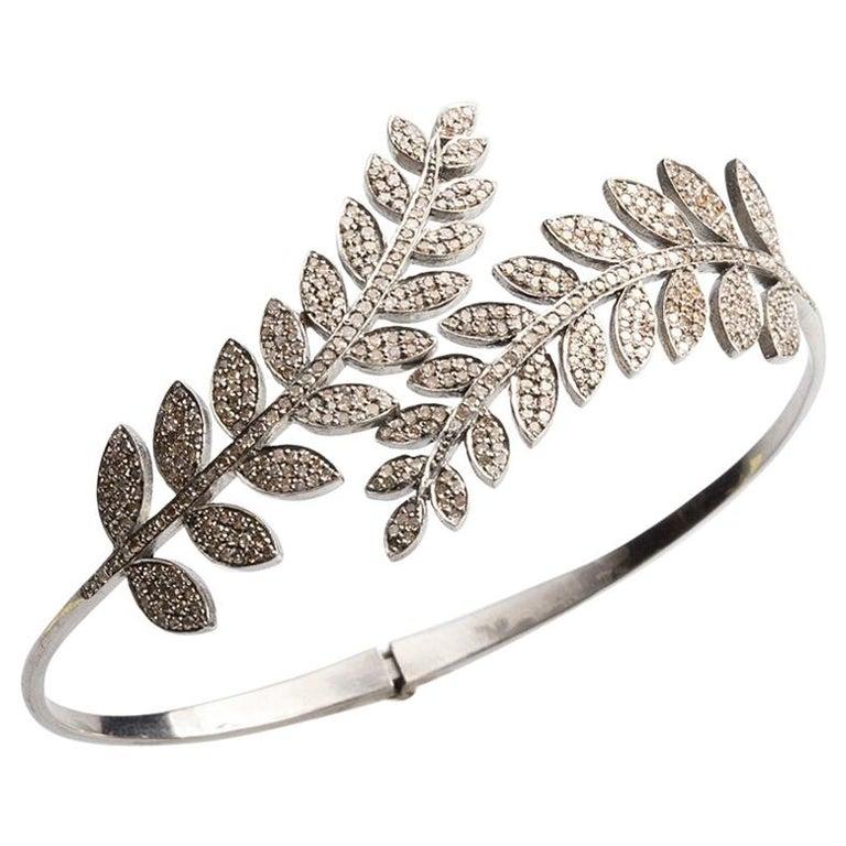 Pave Diamond Hinged Leave Wrap Bracelet