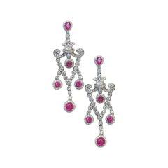2 Carat Pink Ruby and 1.53 Carat Diamond Edwardian Style Dangle Earrings