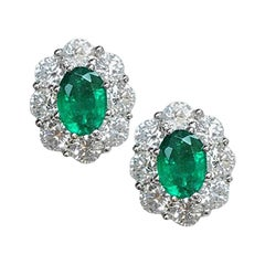 1.40 Carat Emerald and 2.45 Carat Diamond Earrings
