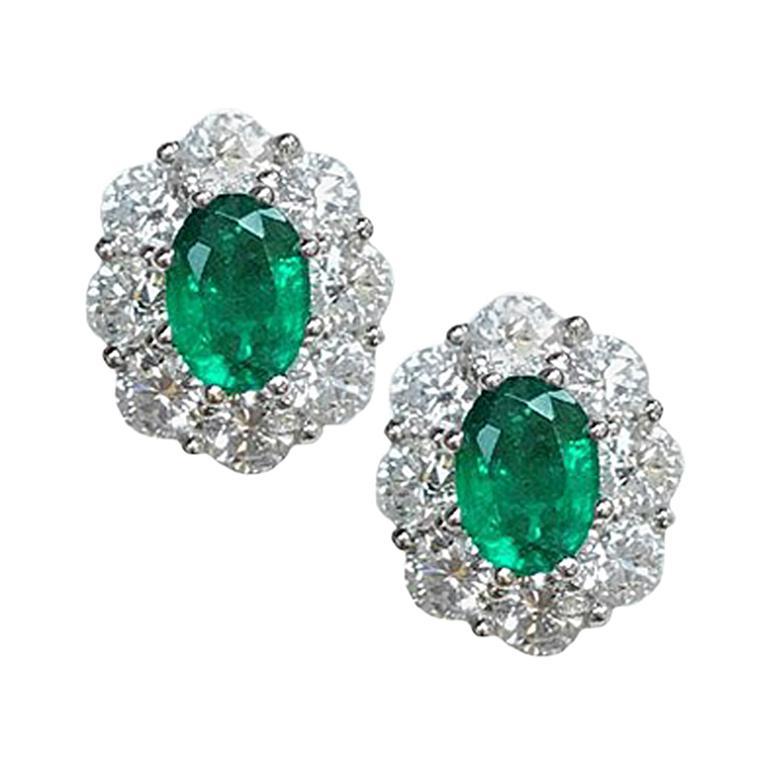 1.40 Carat Emerald and 2.45 Carat Diamond Earrings