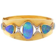 Brooks Opal Diamond Yellow Gold Bangle Bracelet, 1970s