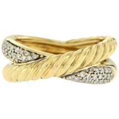 """David Yurman 18 Karat Yellow Gold Diamonds """"X"""" Crossover Band Ring"""