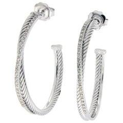 David Yurman 925 Silver and 14 Karat Gold Large Diamonds Hoop Earrings