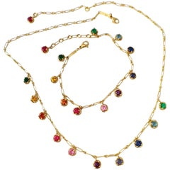 Multicolor Sapphire Gemstone Handmade Necklace and Bracelet 18 Karat Gold