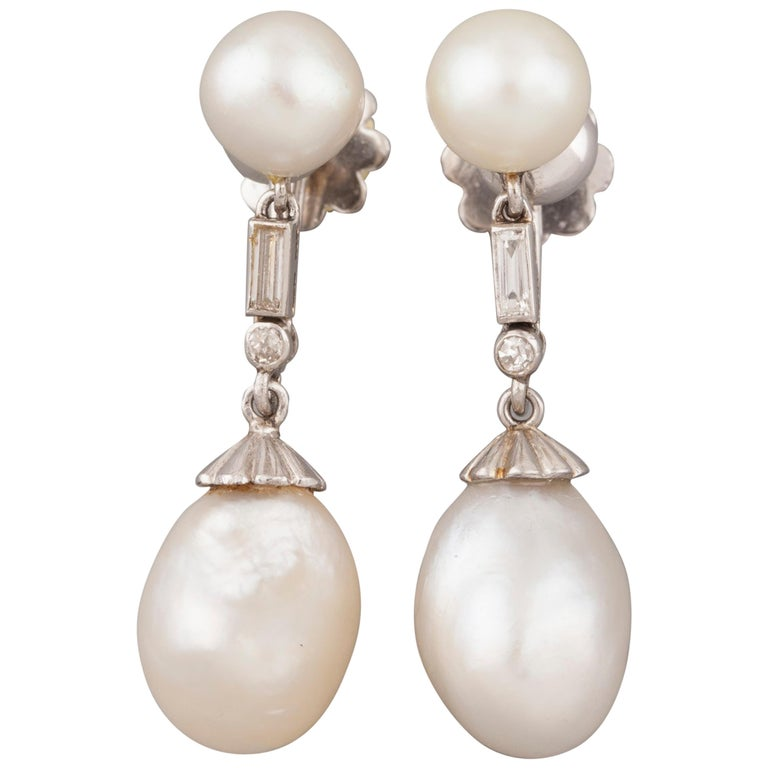 French Certified Antique Natural Pearls Earrings