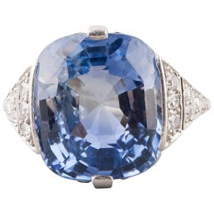 Certified 21 Carat Ceylan Sapphire French Art Deco Ring